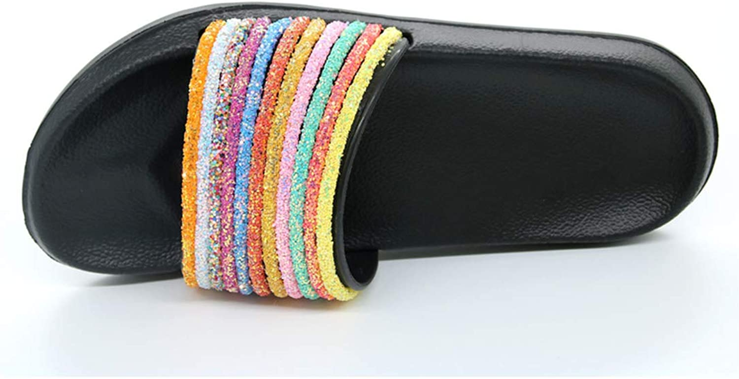 Women Slippers Summer Fashion Rainbow Slippers Flip Flops Luxurious Bling shoes Home Slippers Woman