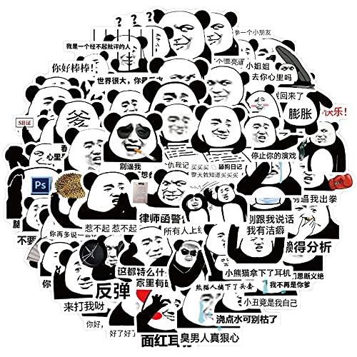 WWJIE Panda Testa Emoji Graffiti Decorazione Valigia Moto Trolley Valigia Laptop Adesivi Fai da Te 50 Fogli