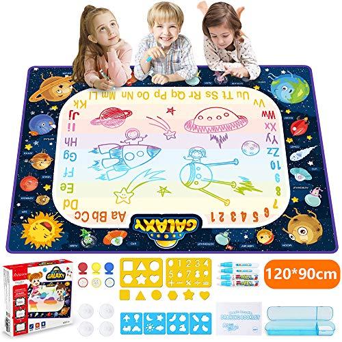 JOYSPACE Agua Dibujo Pintura Pizarra Mágica Alfombra de Agua Doodle Esteras de Agua Doodle Regalos de Dibujo Juegos Juguetes Educativo para Niños Niñas de 3 4 5 6 7 8 años-120*90cm