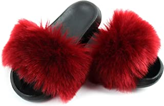 Pantoufles pour Femmes, Femmes élégantes en Fausse Fourrure à Bout Ouvert Pantoufles Plates Sandales Chaussures De Homewea...