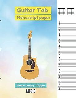 Guitar Tab Manuscript Paper Beautiful sweet cotton candy twilight sky watercolor background eps10 vectors illustration cov...