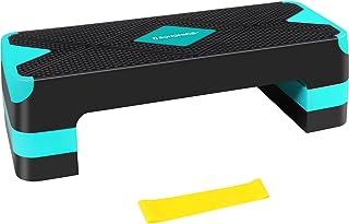 SONGMICS quiltboard voor aerobics, stepper met weerstandsband, in hoogte verstelbaar (10/15/20 cm) platform, stepbank voor...