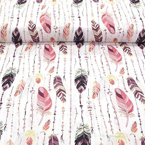 Erstklassiger Baumwollstoff 0,5lfm, 100% Baumwolle, modische Muster, Breite 160cm - Rosa Feder
