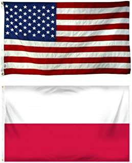 ALBATROS 2 ft x 3 ft 2x3 USA American with Poland Polish Polska Flag Grommets for Home and Parades, Official Party, All Weather Indoors Outdoors