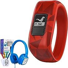 Garmin Vivofit Jr. Activity Tracker for Kids, Regular Fit - Broken Lava (010-01634-00) w/Bonus Deco Gear Kids Safe Ear Headphones