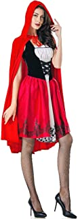 Women Little Red Riding Hood Costumes Halloween Role Play Outfits with Removable Hood Cape