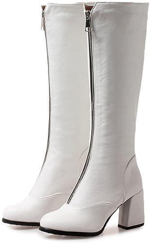 Sandalette-DEDE Stiefel de tacón Alto, Stiefel de tacón Alto, Stiefel de tacón Alto, Stiefel de Moda de tacón Grueso, Weißas, Cuarenta y Cuatro