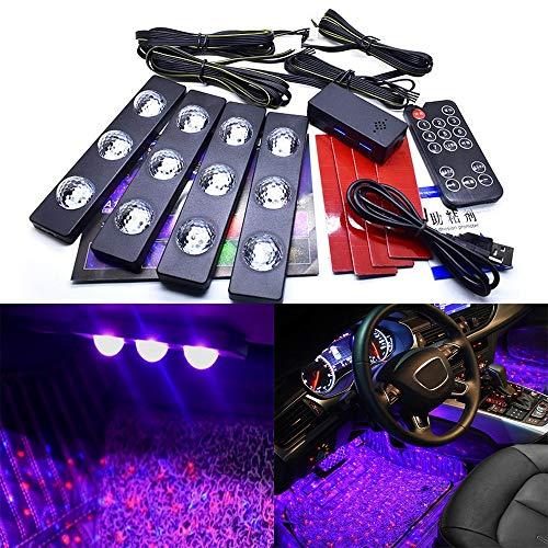 Luces interiores de coche, tira de luces LED para coche, luces LED de atmósfera, estrella colorida, IP68, impermeable, control de voz y control remoto, puerto USB, 4 unidades 12 LEDs 7 colores