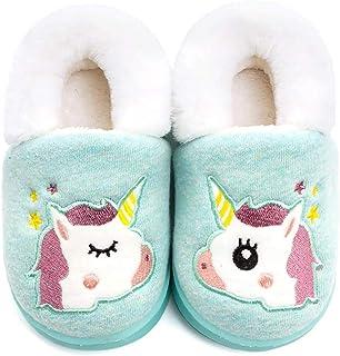 شبشب أولادي بناتي دافئ بتصميم أحادي القرن للأطفال الصغار حذاء نوم داخلي منفوش (5-6 أطفال صغير، أخضر وحيد القرن)