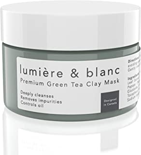 lumière & blanc Premium Green Tea Clay Mask for Face - Face Mask for Oily, Dry and Normal Skin - Facial Clay Mask for Men and Women - Mud Masks for Face - Acne Mask for Blackheads and Pores