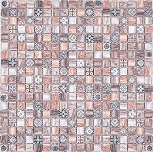 Piastrelle a mosaico in vetro, stile retrò, marrone