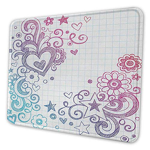 N\A Doodle Office Mouse Pad Alegre día de San valentín temático boceto en Forma de Remolino en un Cuaderno a Cuadros telón de Fondo Personalidad patrón Mouse Pad Rosa púrpura Azul