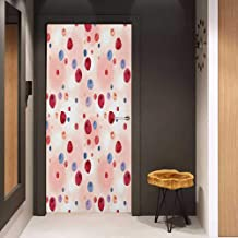 Onefzc Pantry Sticker for Door Peach Raspberries Blueberries Cranberries Food Themed Design with Abstract Circle Backdrop Sticker Removable Door Decal W32 x H80 Multicolor