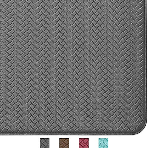 Color&Geometry Komfort Küchenläufer 45 x 150 cm, rutschfeste Küchenteppich mit Ölfest und Wasserdicht PVC, Gummirücken Küchenmatte Teppichläufer für Esszimmer, Küche, Flur (Grau)