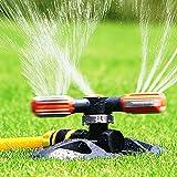 ALLILUYAA Aspersors Jardín,Aspersores de Riego Cesped de 360 ° Automático,3 Brazos Ajustables Sprinkler Jardin para Equipos de riego, Sistema de riego para aspersores de césped