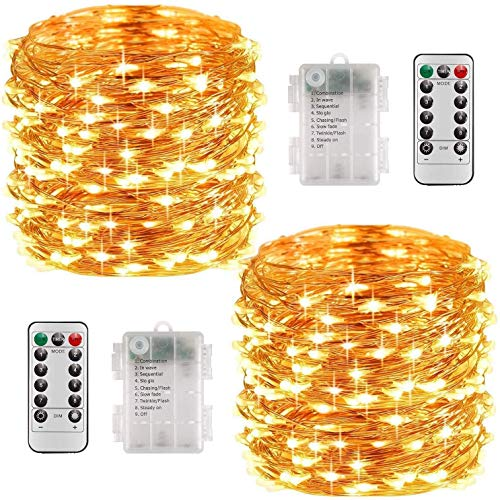 [2 Pack] 10m 100LEDs Waterproof Starry Fairy Copper String Lights Battery Powered for Bedroom Indoor Outdoor Warm White Ambiance Lighting for Patio Halloween Thanksgiving Christmas Party, Timer