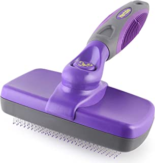 Hertzko Self Cleaning Slicker Brush with Plastic Tips for Sensitive Dogs and Cats. Gently Removes Loose Fur, Undercoat, Ma...