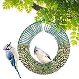 Gtongoko Hanging Peanut Wreath Bird Feeder for Outside, Weatherproof Squirrel Feeder, Durable Solid Steel Circle Cage Bird Feeder Green 1 Pack