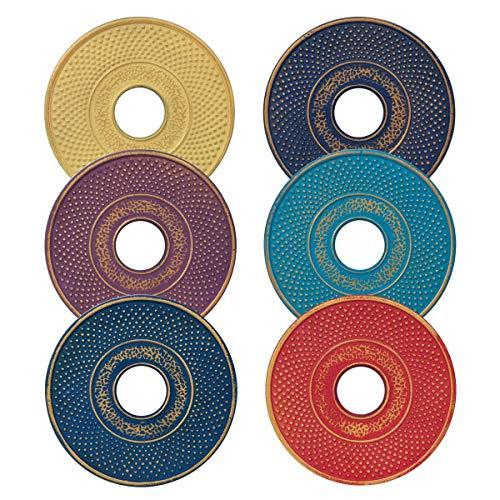 Vidal Regalos Lot de 6 sets de table ronds en fer oriental ethnique 13 cm