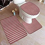 3 Pcs Bathroom Mat Set Norwegian Scandinavian Traditional Vintage Style Borders Reindeer Striped Flower Commode Contour Rug Machine Washable, Perfect for Bathroom Red White