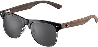 AMEXI Polarized Sunglasses for Men and Women Wooden legs Color Mirror UV400