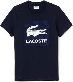 Lacoste Men's Sport Tennis Print Technical Jersey T-shirt, Navy Blue,L - US