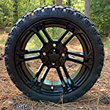 14' Terminator Gloss Black Wheels and STINGER 20x8.5-14' DOT All Terrain Golf Cart Tires...