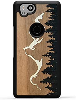 Carved - Google Pixel 2 - Luxury Protective Traveler Case - Unique Real Wooden Phone Cover - Rubber Bumper - Grand Teton Inlay