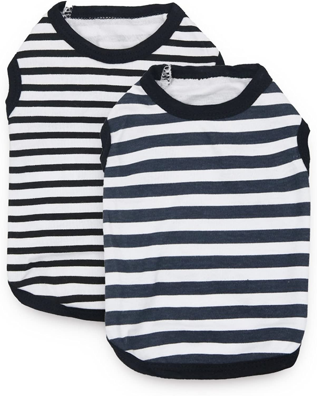 DroolingDog Dog Striped Shirts Dog Cotton Clothes Pet Vest Puppy Apparel T Shirt Small Dogs, XS, Pack of 2