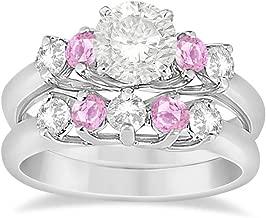 5 Stone Diamond and Pink Sapphire Platinum Engagement Ring and Matching Wedding Band Bridal Set (1.10ct)