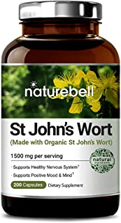 Organic St John's Wort 1500 mg, 200 Capsules, Powerfully Supports Positive Mood and Mind, Promotes Healthy Nervous System, No GMOs, No Preservatives, Made in USA
