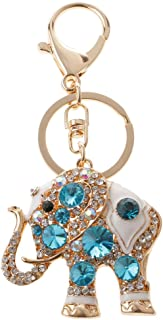 Prettyia Elephant Keychain Crystal Keyring Key Ring Chain Bag Car Charm Pendant Blue
