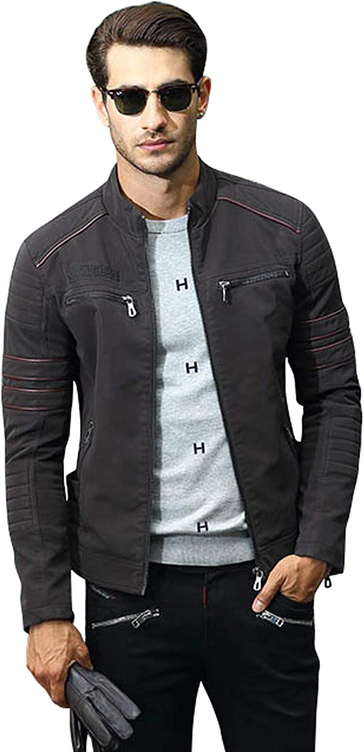CHARTOU Men's Winter Stand Collar Fleece-Lined PU Embroidery Motorcycle Leather Jacket