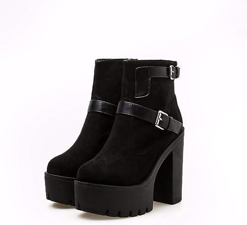 SFSYDDY Chaussures Populaires Fille De Bar De Chaussures avec des 13Cm épais avec Martin Bottes Muffins épais Bas Chaussures
