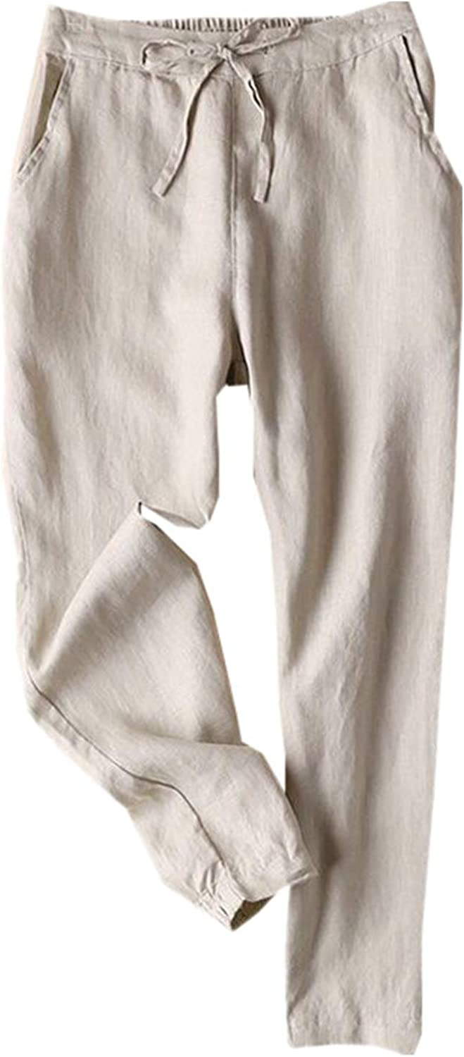 FUNEY Women's Drawstring Linen Wide Leg Pant Casual Baggy Pants with Elastic Waist Relax Fit Cropped Trousers