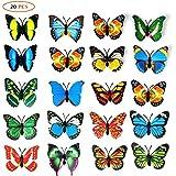 20 piezas 3D PVC mariposa imán de pared decoración con imanes de nevera (color al azar)