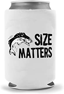Fishing Size Matters | Funny Novelty Can Cooler Coolie Huggie | Fish Beer Beverage Holder - Beer Gifts Home - Quality Neoprene No Fade Can Cooler