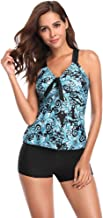 $20 » Womens Bathing Suits Swimwear Floral Printing V Neck Padded Swim Bottoms Bandage Bikini Two Piece Swimsuits Tankini