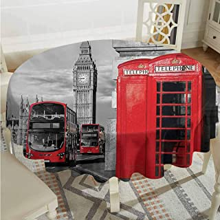 ScottDecor Reusable Round Tablecloth London London Telephone Booth in The Street Traditional Local Cultural Icon England UK Retro Red Grey Printed Tablecloth Diameter 50