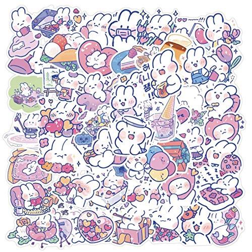 JINER Meng Cute Soft Rabbit Graffiti Waterproof Skateboard Travel Suitcase Mobile Phone Luggage Stickers Cute Kids Girl Toys 50 pcs