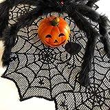 Oblique Unique® Tischläufer Spinnennetze und Spinnen mit Spitze Tischband Tisch Läufer Tischdeko für Halloween Deko Dekoration Schwarz 45cm breit 1,8m lang - 2