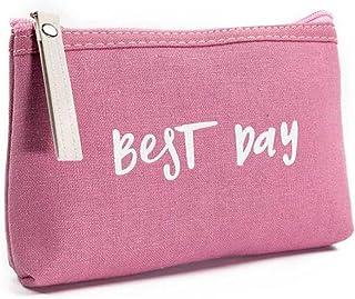 Women Best Day Letters Zipper Cosmetic Bag Coin Purse Wallet Handbag (A)