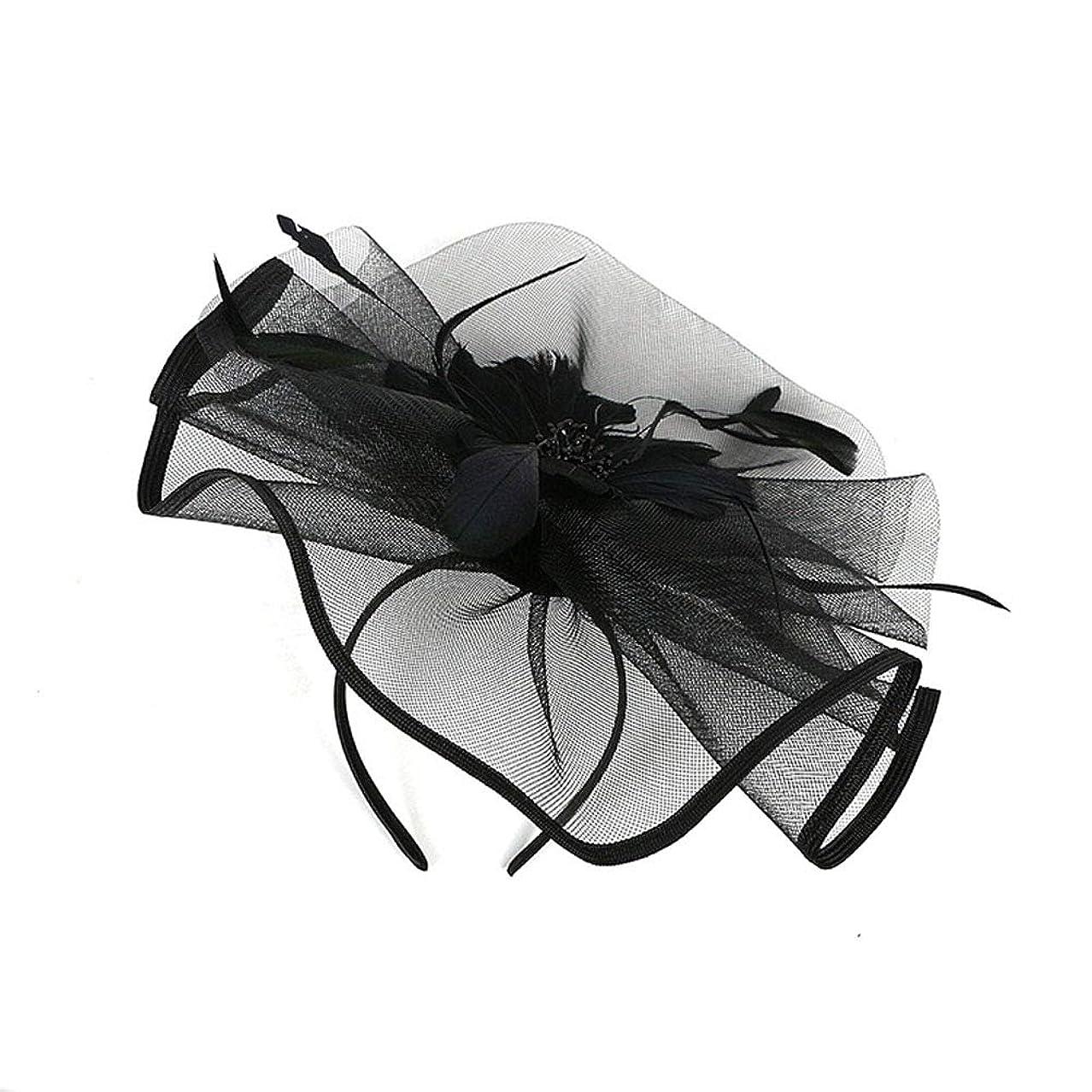 パンツ無条件トークンLURROSE 花メッシュフェザーハットクリップ魅惑的な帽子メッシュフラワーヘアクリップヘッドバンドダービーウェディングティーパーティーヘッドウェア(ブラック)