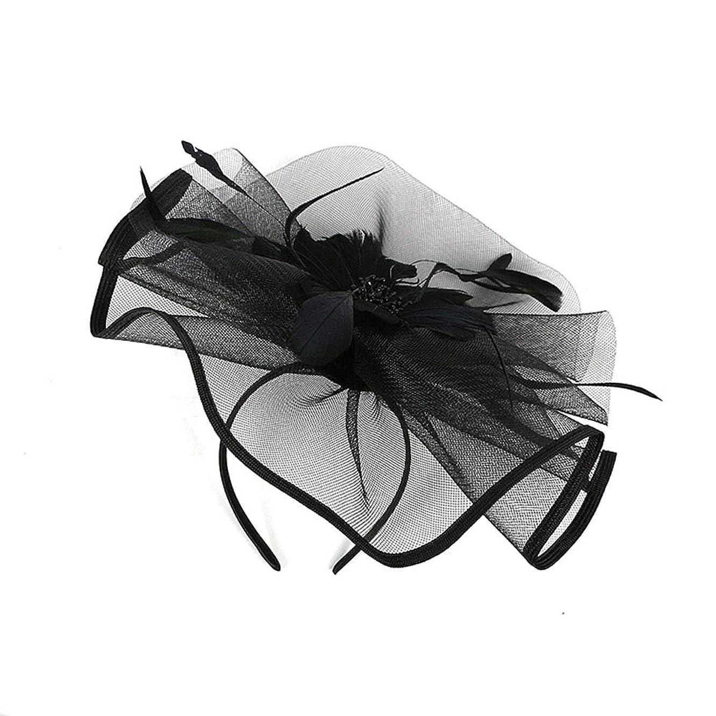 ヘリコプターラジエーターカポックLURROSE 花メッシュフェザーハットクリップ魅惑的な帽子メッシュフラワーヘアクリップヘッドバンドダービーウェディングティーパーティーヘッドウェア(ブラック)