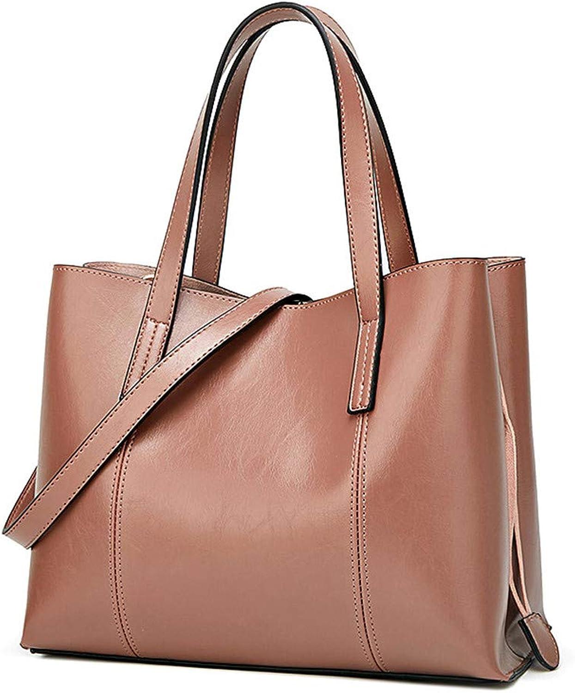Sturdy New Fashion Handbag Trend Ladies Handbag Simple Shoulder Messenger Handbag Large Capacity (color   Pink)