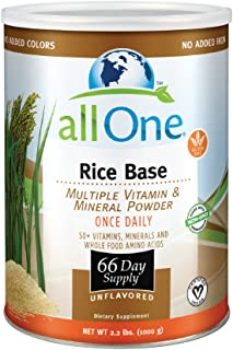 allOne Rice Base Multiple Vitamin & Mineral Powder | Once Daily Multivitamin, Mineral & Whole Food Amino Acid Supplement w/6g Protein (66 Servings)