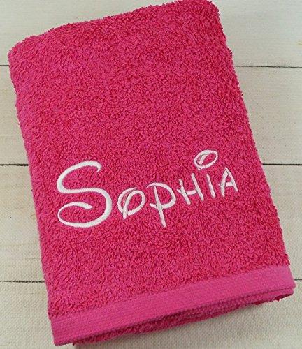 Handtuch mit Namen bestickt Duchtuch Geschenk Handtuch 550 g/m2 (30 x 50 cm, Pink) (300101)
