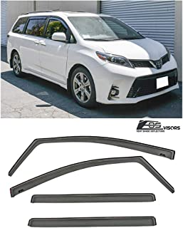 for 2011-Present Toyota Sienna   EOS Visors in-Channel Style Smoke Tinted Side Window Vents Rain Guard Deflectors