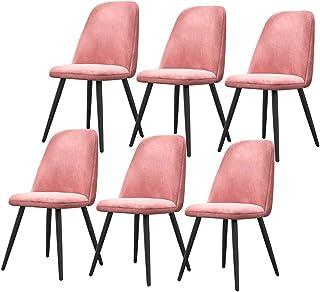 ZCXBHD El Conjunto de 6 Sillas Comedor Sillas encimera Cocina de época Sillas Salón Ocio Esquina con Metal y Asientos Patas Terciopelo y respaldos (Color : Pink)