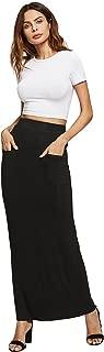 MAKEMECHIC Falda de lápiz elástica básica por Debajo de la Rodilla para Mujer, Black-Pocket, XS